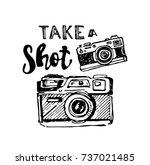hand drawn vector retro camera. ... | Shutterstock .eps vector #737021485