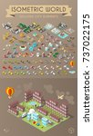 set of isometric high quality... | Shutterstock .eps vector #737022175
