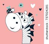 cute zebra with ladybug vector...   Shutterstock .eps vector #737024281