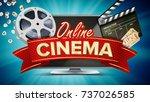 online cinema poster vector.... | Shutterstock .eps vector #737026585