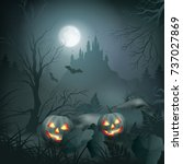 halloween vector night scene... | Shutterstock .eps vector #737027869