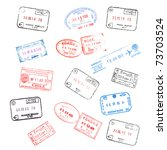 set of various passport visa... | Shutterstock . vector #73703524