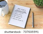 new year's resolutions written... | Shutterstock . vector #737035591