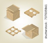 realistic wooden container for... | Shutterstock .eps vector #737035861
