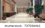 lobby entrance with reception... | Shutterstock . vector #737036461
