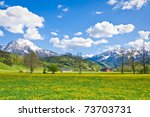 alpine landscape in the springtime - stock photo