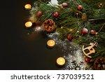 christmas. xmas toys  burning... | Shutterstock . vector #737039521