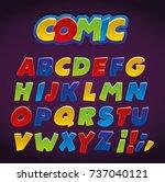 comic alphabet set. letters ... | Shutterstock .eps vector #737040121
