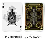 ace of spades with spades... | Shutterstock .eps vector #737041099
