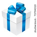 vector white box with blue silk ... | Shutterstock .eps vector #73704310
