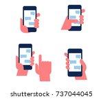 human hand holds smart phone.... | Shutterstock .eps vector #737044045