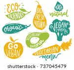 vegetarian menu badges and... | Shutterstock .eps vector #737045479