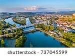 view of the vah river at... | Shutterstock . vector #737045599