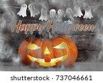 spooky halloween pumpkin head ... | Shutterstock . vector #737046661