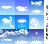 realistic clouds blue sky... | Shutterstock .eps vector #737048101