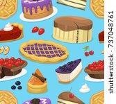 birthday celebration cream cake ...   Shutterstock .eps vector #737048761