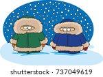 two cartoon people standing in... | Shutterstock .eps vector #737049619