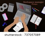 workspace manager vector... | Shutterstock .eps vector #737057089