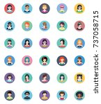 women avatars flat icons  ... | Shutterstock .eps vector #737058715