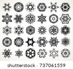 set of ornate lacy doodle... | Shutterstock . vector #737061559