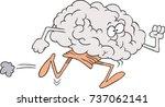 cartoon brain running | Shutterstock .eps vector #737062141