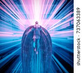 science fiction angel   3d...   Shutterstock . vector #737063389