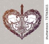 beautiful romantic skulls with... | Shutterstock .eps vector #737063611