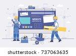 two cartoon builders holding... | Shutterstock .eps vector #737063635