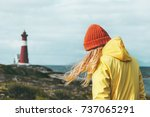 traveler girl walking at norway ... | Shutterstock . vector #737065291