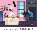 cooking tv show orthogonal... | Shutterstock .eps vector #737065411
