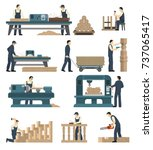 carpentry factory set of... | Shutterstock .eps vector #737065417