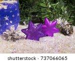 decorative violet new year... | Shutterstock . vector #737066065