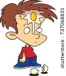 cartoon boy with a broken egg... | Shutterstock .eps vector #737068831