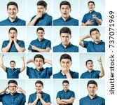 set of young man's portraits... | Shutterstock . vector #737071969