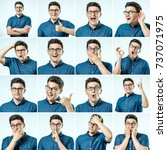 set of young man's portraits... | Shutterstock . vector #737071975