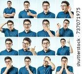 set of young man's portraits... | Shutterstock . vector #737071975