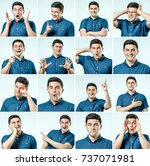 set of young man's portraits... | Shutterstock . vector #737071981