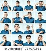 set of young man's portraits... | Shutterstock . vector #737071981