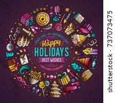 colorful vector hand drawn set... | Shutterstock .eps vector #737073475