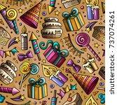 cartoon hand drawn doodles on... | Shutterstock .eps vector #737074261