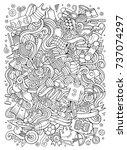 cartoon cute doodles hand drawn ... | Shutterstock .eps vector #737074297