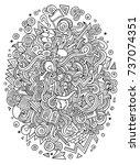 cartoon cute doodles hand drawn ... | Shutterstock .eps vector #737074351