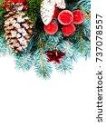 vintage christmas tree pine... | Shutterstock . vector #737078557