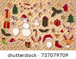 set of christmas hand drawn... | Shutterstock . vector #737079709