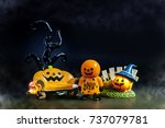 halloween background toys for... | Shutterstock . vector #737079781