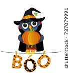 owl in a suit on a halloween... | Shutterstock .eps vector #737079991
