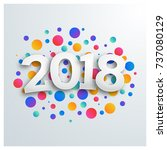 happy new year 2018 greeting... | Shutterstock .eps vector #737080129