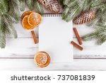 christmas banner with green... | Shutterstock . vector #737081839