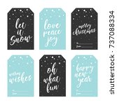 set of holiday christmas gift... | Shutterstock .eps vector #737088334