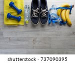 fitness concept with sneakers... | Shutterstock . vector #737090395
